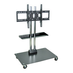 "Luxor - H Wilson Flat Panel Cart - WPSMS44SCH-4 - Holds 37"" to 60"" Flat Panel TV's. 50"" Height. Two heavy duty chrome steel tubes with black powder coated base. Engineered for safety. The heavy duty base plate 27"" x 231/2"" footprint prevents tipping and the 49 Lbs. of counter weight provides the proper center of gravity."