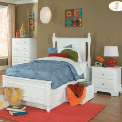 Homelegance - Homelegance Morelle 3 Piece Captain's Drawer Bedroom Set in White - The warmth of cottage living is invoked by the classic styling of the Morelle Collection. The collection is designed with many features perfect for today s casual lifestyle such as a low post bed with simple picture framing and round finials plus molded drawer fronts and satin nickel knobs on the case pieces. The addition of a pull out trundle and toy box offerings further the functionality of the collection. The ability to choose from twin  full  queen  California king and Eastern king bed sizes makes this group perfect for youth bedrooms  guest bedrooms or master bedrooms. Adding to the versatility are two distinct painted finishes  black and white.