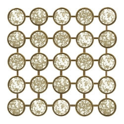 "IMAX - Pavlova Mirror Wall Decor - Unique wall display with an antiqued mirrored finish displaying repetitive geometric shapes that are eye pleasing. Item Dimensions: (20.75""h x 20.75""w)"