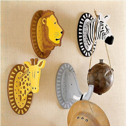 Safari Animals Wall Hooks - Add a jungle flair to a playroom with these safari hooks. Great for helping increase a child's independence as they hang things on their own, these guys add a fun jungle flair to any space.
