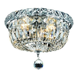 Destination Lighting - Crystal Flushmount Ceiling Light - 10-Inches Wide - 2261 - Polished chrome finish with royal cut clear crystals. Takes (4) 40-watt incandescent flame bulb(s). Bulb(s) sold separately. UL listed. Dry location rated.