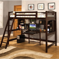 Furniture of America - Furniture of America Bowery Bookcase Twin Loft Bed - Espresso Dark Brown - IDF-B - Shop for Bunk Beds from Hayneedle.com! The Furniture of America Bowery Bookcase Twin Loft Bed - Espresso has a unique space solution for your child's bedroom. This elegantly designed bed has a desk underneath it. Or this spacious desk has a bed over it. Either way your child will have two great spaces to sleep and work in.About Furniture of America Based in California Furniture of America has established itself as a premier provider of fine home furnishings. The people behind Furniture of America brand are moved by passion hard work and persistence. They are always striving to design the latest piece keeping in mind their mission to make quality furniture available to urban-minded shoppers without compromising the packaging integrity.Furniture of America offers unique coordinated and affordably designed furniture; they are a one-step resource for high-quality furniture with secure and professional packaging in the furniture industry.