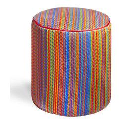 Fab Habitat - Cancun - Multicolor Pouf - Playful colors really pop on this striped, eco-chic pouf! With this artisan made, easy to clean pouf in your home, you'll always have a modern seating choice, foot stool, or tiny table on offer. This pouf is handmade from recycled materials, and is available in a variety of vibrant color combinations.