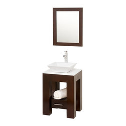 "Wyndham Collection - Wyndham Collection 22"" Amanda Espresso Single Sink Vanity w/ White Glass Top - Introducing the beautiful and unique Amanda bathroom vanity. This fresh design showcases style and versatility in a slim space, with an open storage area for towels, baskets, and other toiletries, and a drawer for other accessories. It's the perfect powder room vanity. Available with a white countertop and matching sink or smoke glass countertop and matching sink. Optional Black Granite upgraded sink also available."