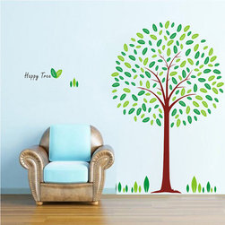 ColorfulHall Co., LTD - Tree Wall Decals Removable Vinyl Art Decor Lovely Green Tree - Tree Wall Decals Removable Vinyl Art Decor Lovely Green Tree