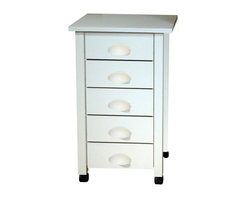 """Venture Horizon - Mobile 5 Drawer Cart in White Finish w Matchi - Matches Mobile Desk 1017. 5 Roomy drawers. Casters add mobility. Durable and easy to clean. Beadboard panels add style. Constructed from durable, stain resistant and laminated wood composites that includes MDF. Made in the USA. Assembly required. Weight: 50 lbs.. Assembled size: 18 in. W x 18 in. D x 29 in. H. Drawers: 13.5 in. L x 12.25 in. W x 4.25 in HOur 5 Drawer Carts are a nice complement to our Folding Tables. You can never have too much storage space. They have thick corner posts and matching cup style handles made of durable metal like plastic. They seem to flow naturally from the drawer front panel.""""Beefy"""" 2 in. thick legs give it a solid look and feel. Easy on the eyes as well as the pocketbook. Whether you want a sewing center, a handy organizer from which to pay bills or an extra desk for the home office our Mobile Work Center is right for the job. Opens to an impressive 45 in. wide yet folds to only 19 in. x 18 in.. 6 dual-track carpet casters will let you roll it anywhere...to work or out of sight. The 5 deep, roomy drawers provide storage for just about anything you have in the way of office supplies or crafts. Because of it's increased dimensions each drawer will accommodate large sized craft paper. The large double version # 1019 opens on both sides to create over 8 sq. feet of work space. The Mobile Desks are easy to clean and will offer a life time of reliable service."""