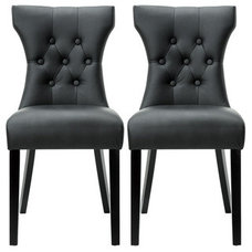 Dining Chairs Modway Silhouette Modern Black Dining Chairs (Set of 2)