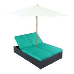 "LexMod - Arrival Outdoor Patio Chaise in Espresso Turquoise - Arrival Outdoor Patio Chaise in Espresso Turquoise - Life is full of first glimpses with the dual lounge Arrival set. Center your thoughts on uplifted efforts as you embark on pursuits both peaceful and grand. With recline adjustable chaise lounges, and an easy fold umbrella that provides shade from the sun, Arrival is a piece of stellar resolve. Arrival is comprised of UV resistant rattan, a powder-coated aluminum frame and all-weather cushions. The set is perfect for cafes, restaurants, patios, pool areas, hotels, resorts and other outdoor spaces. Set Includes: One - Arrival Outdoor Dual Chaise Dual Modern Chaise Lounges, Synthetic Rattan Weave, Machine Washable Cushion Covers, Powder Coated Aluminum Frame, Water & UV Resistant, Ships Pre-Assembled Overall Product Dimensions: 105.5""L x 105.5""W x 13.5""H Daybed Dimensions: 82""L x 54.5""W x 13.5""H Umbrella Diameter: 105.5""L x 105.5""W Seat Height: 13.5""H - Mid Century Modern Furniture."