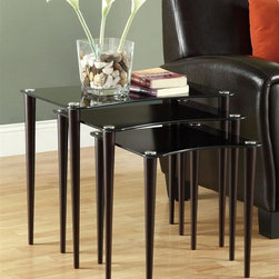 Monarch Specialties - 3-Pc Glass Nesting Table Set - Contemporary style. Black tempered glass top. Shaker wood legs. Cappuccino finish. Small: 15.75 in. W x 15.75 in. D x 17 in. H. Medium: 19.75 in. W x 15.75 in. D x 19 in. H. Large: 23.75 in. W x 15.75 in. D x 21 in. H (28 lbs.)