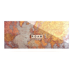 """Kess InHouse - Sylvia Cook """"Roam Map"""" World Metal Luxe Panel (9"""" x 21"""") - Our luxe KESS InHouse art panels are the perfect addition to your super fab living room, dining room, bedroom or bathroom. Heck, we have customers that have them in their sunrooms. These items are the art equivalent to flat screens. They offer a bright splash of color in a sleek and elegant way. They are available in square and rectangle sizes. Comes with a shadow mount for an even sleeker finish. By infusing the dyes of the artwork directly onto specially coated metal panels, the artwork is extremely durable and will showcase the exceptional detail. Use them together to make large art installations or showcase them individually. Our KESS InHouse Art Panels will jump off your walls. We can't wait to see what our interior design savvy clients will come up with next."""