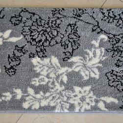 Memory Foam Grey/ White Floral 20 x 32 Bath Mat -