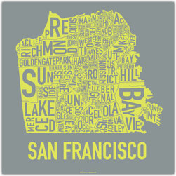 "San Francisco Screen Print, Mostly Sunny - San Francisco is one of my favorite cities, and this is a bold and clever print that would fit well in my ""place"" prints vignette. What city would you like to own?"