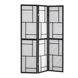 Monarch Specialties - Monarch Specialties Black Wood Framed 3 Panel Screen - This three panel folding screen can be used as a room divider to enhance the ambiance and add a touch of flair. With its black, solid wood frame and geometric motif, this chic design will be an amazing accent for your home.
