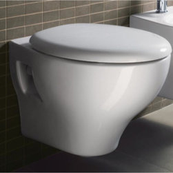 GSI - Round White Ceramic Wall Hung Toilet with Seat and Cover - Just the toilet for a more contemporary bath - begin with this toilet. This wall mounted round toilet is available in white and made in high-quality ceramic. Made in Italy by GSI. Requires Geberit concealed tank and carrier (ref. 111.335.00.5) and Geberit white or chrome sampa flush plate (ref. 115. 770.11.5, ref. 115.770.21.5). Wall hung toilet. Seat included. Actuator and tank must be purchased separately. Water-saving. 1.2 GPF (Gallons Per Flush). Made of white ceramic. Made in Italy.
