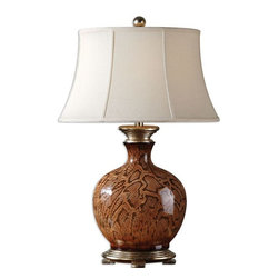 Uttermost - Serpiente Ceramic Lamp - Stretched reptile print over ceramic in a rust brown and black finish with silver leaf accents.