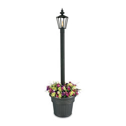 Patio Living Concepts - Planter Base Citronella Lamp - Our customer favorite, the Citronella Lamp, is now available with Planter Base.  The natural flame, lit by standard or Citronella lamp oil, will bring out the beauty of the flower arrangement around the base of this traditional style street lamp.  Perfect for any outdoor area.  Repel insects with the aromatic citronella flame which this elegant old world styled lamp emits from its lifetime fiberglass wick.  Its base is a lovely planter that allows you to decorate it with your most cherished flora. * The charming style of these citronella flame lanterns is reminiscent of a turn-of-the-century gas street lamp with the up-to-date efficiency and quality of today.  Easy fill ontainers use standard lamp oil or citronella liquid paraffin fuel to repel insects (16 oz filling will last an entire evening, over 10 hours) and they have lifetime fiberglass wicks. . Carton Size: 22x22. 5x20. Transfer those precious Hydrangeas into your Citronella Candle Light w/ Planter - Outdoor.   Beautiful, innovative and redolent of old world expertise and charm, this is a piece to be enjoyed with a stellar novel and a nice cup of ginger tea