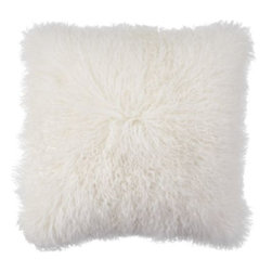 """Z Gallerie - Mongolian Pillow 22"""" - Elevate your decor to a new level of sophistication by adding our exceptional Mongolian Pillow to your furniture pieces. The unexpected use of prized Mongolian lamb fur to create our exclusive Mongolian Pillows lends high style to any setting. Our Mongolian Pillows feature plush fur on the front and faux suede leather on the back with a heavy duty zipper closure."""