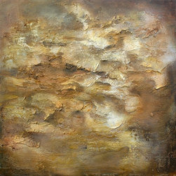 """""""120 Raw Agate"""" Artwork - These mixed media paintings are created with countless layers of potent earth-tones that permeate the sculpted surfaces. A primordial energy exudes from within the core of each painting. The work feels as if it has been spawned from a prehistoric cave wall, a stratum of a familiar or distant terrain, or the glistening interior of a geode."""