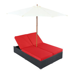 "LexMod - Arrival Outdoor Patio Chaise in Espresso Red - Arrival Outdoor Patio Chaise in Espresso Red - Life is full of first glimpses with the dual lounge Arrival set. Center your thoughts on uplifted efforts as you embark on pursuits both peaceful and grand. With recline adjustable chaise lounges, and an easy fold umbrella that provides shade from the sun, Arrival is a piece of stellar resolve. Arrival is comprised of UV resistant rattan, a powder-coated aluminum frame and all-weather cushions. The set is perfect for cafes, restaurants, patios, pool areas, hotels, resorts and other outdoor spaces. Set Includes: One - Arrival Outdoor Dual Chaise Dual Modern Chaise Lounges, Synthetic Rattan Weave, Machine Washable Cushion Covers, Powder Coated Aluminum Frame, Water & UV Resistant, Ships Pre-Assembled Overall Product Dimensions: 105.5""L x 105.5""W x 13.5""H Daybed Dimensions: 82""L x 54.5""W x 13.5""H Umbrella Diameter: 105.5""L x 105.5""W Seat Height: 13.5""H - Mid Century Modern Furniture."