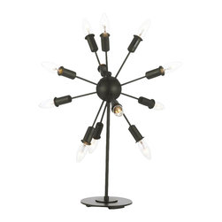 gallery - Contemporary 12 Light Iron Table Lamp - The iron arms of this stunning table lamp hold light beautifully around the center sphere. Truly an amazing piece !