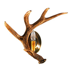 "Muskoka Lifestyle Products - Rustic Faux Whitetail Antler Wall Sconce - The Whitetail 1 Antler Sconce is the best faux antler wall sconce available on the market. We have taken our replication process from our other rustic decor items and matched the authentic finish. Real antlers are used to model the reproduction for an exact and comparable result. The process to create our antler chandeliers uses a time proven, cast resin system to ensure perfection in every piece; we use the same process in our rustic western decor and accent lights. We have hand-stained and antiqued each antler to achieve the exact comparable match to the real antler. Bring the perfect rustic decor to your home, cabin, or office with these authentic antler reproductions. The antler sconce reproductions are the best way to create the perfect, natural look in any room. All lamps are UL listed to ensure absolute safety, quality, and US building code parameters are met.1 Individual Whitetail Faux Shed Antlers40-Watt Candle LightMeasures 14""W and 15""HWeight: 2 lbs"