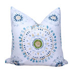 PillowFever. - Suzani Cotton Pillow Cover. Blue and White Pillow Cover. - This beautiful cotton pillow cover has suzani print on off white background. Print has variations of colors: Off White, Light Blue, Dark Blue, Green, Yellow.