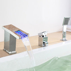 Bathtub Faucets - Modern LED Widespread Waterfall Tub Faucet with Hand Shower--FaucetSuperDeal.com