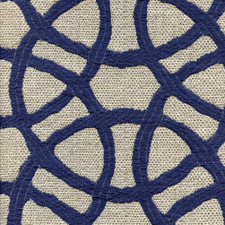 CELTIC CIRCLES - KING'S BLUE - Calvin Fabrics - CELTIC CIRCLES - KING'S BLUE - large scale Celtic knot design in flax and navy woven in the USA - contract ratings WYZENBEEK: 51,000 & UFAC/NFPA 260 CLASS I