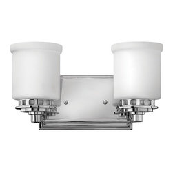 Ashley Dual Bath Light - The Ashley Dual Bath Light has a bold, modern style making it the perfect addition to any bathroom. It features a rectangular Chrome backplate and two etched opal glass shades.