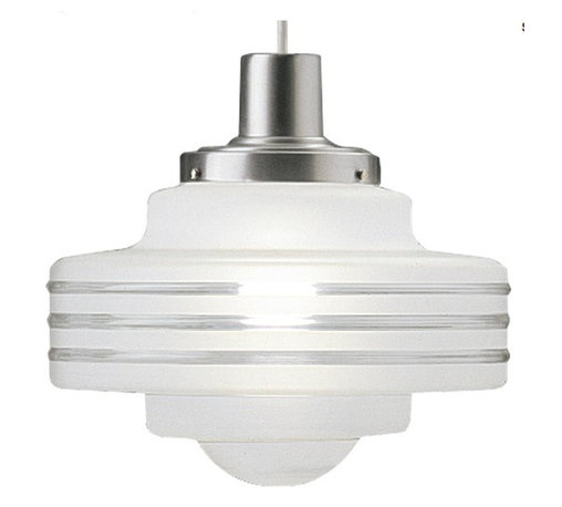 Art Deco Single-light Pendant with Handblown Satin White on Clear Glass Shade - When it comes to light fixtures, the designs of the Art Deco movement get a chance to really shine.