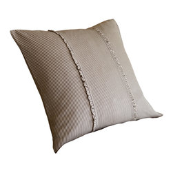 Taylor Linens - Farmhouse Stripe Boudoir Pillow - Warm brown and cream pinstripes and subtle, tasteful ruffles give this throw pillow a down-to-earth vintage farmhouse charm. The pattern is simple and neutral enough to combine with other prints, like plaids or florals, to give you that antique country look.
