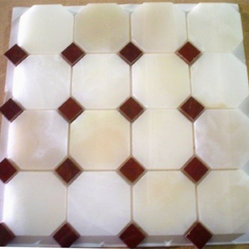 White Polished Octagon Pattern Mesh-Mounted Onyx Tile - 3 in. x 3 in. White Mesh-Mounted Octagon Pattern Onyx Mosaic Tile .75 in. Red Dot Insert is a great way to enhance your decor with a traditional aesthetic touch. This polished mosaic tile is constructed from durable, impervious onyx material, comes in a smooth, unglazed finish and is suitable for installation on floors, walls and countertops in commercial and residential spaces such as bathrooms and kitchens.