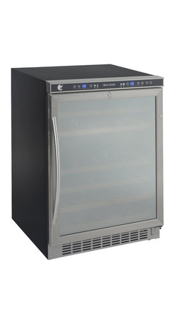 "Avanti - 46 bottle, dual zone, built-in or free-standing wine cooler, stainless steel fra - Stores up to 32 wine bottles in the upper zone & 14 wine bottles in the lower zone, built-in or free standing application, Mirror Finish on door, wooden shelves on a sturdy pull-out roller assembly, soft touch dual function electronic display for monitoring temperature (F/C), one touch digital control for red, white or sparkling wine, one touch ON/OFF interior cavity light control, built-in interior fan for temperature control, large stainless steel handle, unit dimensions 33.75""H x 23.5"" W x 23"" D"