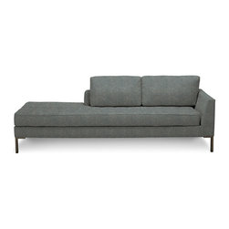 Blu Dot - Blu Dot Paramount Daybed (Left), Ceramic - As comfortable as your favorite jeans. As versatile as a little black dress. This classic sofa can go anywhere in style but don't be surprised if it steals the limelight in its own quiet way. Available in ash, ceramic, graphite, lead, oatmeal, pebble, smoke or stone. Solid hardwood & plywood frame, Loose back cushions, Tufted seat cushion, Stainless steel legs, Graphite / Pebble: 100% poly upholstery