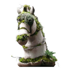 EcoFirstArt - Bucephalus - Talk about horseplay! This  hand-built equine creation mimics the topography of the Earth and makes a remarkable addition to your home or garden.