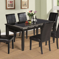 "Acme Furniture - Blythe 7Pc Dining Set in Faux Marble & Black - Blythe 7Pc Dining Set in Faux Marble & Black; Set includes dining table and 6 side chairs; Finish: Faux Marble & Black; Materials: Wood, MDF, Glass, PU; 7mm Tempered Black Glass Table Top (Non Beveled); Brown PU Chair; Weight: 186.4 lbs; Dimensions: Table: 38""W x 64""L, (with 7mm Tempered Black Glass); Chairs: 39""H"