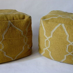Cotton Dhurrie Ottoman, Pair - $1,200 Est. Retail - $575 on Chairish.com -