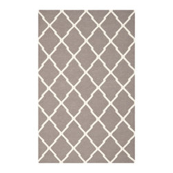 Safavieh - Dhurries Dark Grey and Ivory Rectangular: 5 Ft. x 8 Ft. Rug - - This distinctive piece is both stylish and incredibly soft to the touch with bold rich colors that complement any room. Flat-woven by hand in India  - Pile Height: 0.25  - Construction: Flatweave  - Shedding is a normal occurrence and will reduce over time with frequent vacuuming. It is also recommended that you vacuum regularly to prevent dust and crumbs from settling into the roots of the fibers. AVOID DIRECT AND CONTINUOUS EXPOSURE TO SUNLIGHT. USE RUG PROTECTORS UNDER THE LEGS OF HEAVY FURNITURE TO AVOID FLATTENING PILES. DO NOT PULL LOOSE ENDS, CLIP THEM WITH SCISSORS TO REMOVE. TURN CARPET OCCASIONALLY TO EQUALIZE WEAR. REMOVE SPILLS IMMEDIATELY ; IF LIQUID, BLOT WITH CLEAN, UNDYED CLOTH BY PRESSING FIRMLY AROUND THE SPILL TO ABSORB AS MUCH AS POSSIBLE. FOR HARD TO REMOVE STAINS, PROFESSIONAL RUG CLEANING IS RECOMMENDED. STORE IN A DRY, WELL-VENTILATED AREA. USE OF A RUG PAD IS RECOMMENDED. Safavieh - DHU634G-5