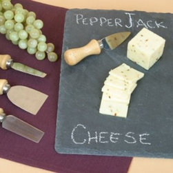 Slate Cheese Board with Four Knifes and Chalk, 6 Pcs Set - Have your food ready for the party with the Slate Cheese Board 6 pcs set.