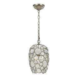 Crystorama Lighting - Crystorama Lighting 523-SA Palla Eclectic Mini Chandelier in Antique Silver - Crystorama Lighting 523-SA Palla Eclectic Mini Chandelier In Antique Silver With Natural White Capiz Shell + Hand Cut Crystal