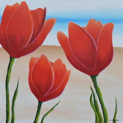 Desert Tulips 1 (Original) by Sherry Streeter - The contrast between the dry desert landscape and vibrant, lush tulips is very crisp and refreshing.  It leaves me with the feeling that spring might last all year and the tulips may never wither.  I love the idea of a year long spring.