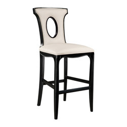 Sterling Industries - Alexis Contemporary Barstool - The latest addition to the Alexis series. The tall bar stool has a sturdy hardwood frame finished in ebony. The stool is upholstered in the same almond bonded leather as the arm/Side chairs.