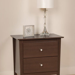 Prepac Furniture - Prepac Berkshire 2 Drawer Night Stand in Espresso - Elegantly cosmopolitan, the Berkshire 2 Drawer Night Stand in Espresso - Prepac Furniture features tapered legs, giving it an upscale, contemporary look. This night stand features two drawers that run on smooth, all metal roller glides with built-in safety stops. Brushed nickel knobs complete the style and add a shimmering contrast to the matte texture of the black laminate finish.    Features: