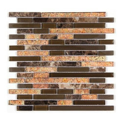 Stone & Co - All Marble Mosaic Glass and Stone blend Random Strip 12 x 12 Mosaic Tile Mag-443 - All Marble Mosaic Glass and Stone blend Random Strip 12 x 12 Mosaic Tile Mag-4435-ST