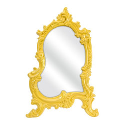 iMax - iMax Frestina Vanity Mirror X-99374 - In a bold canary baroque style frame, the Frestina vanity mirror adds a vintage style to any space.