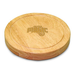 """Picnic Time - Orlando Magic Circo Cheese Board in Natural - The Circo by Picnic Time is so compact and convenient, you'll wonder how you ever got by without it! This 10.2"""" (diameter) x 1.6"""" circular chopping board is made of eco-friendly rubberwood, a hardwood known for its rich grain and durability. The board swivels open to reveal four stainless steel cheese tools with rubberwood handles. The tools include: 1 cheese cleaver (for crumbly cheeses), 1 cheese plane (for semi-hard to hard cheese slices), 1 fork-tipped cheese knife, and 1 hard cheese knife/spreader. The board has over 82 square inches of cutting surface and features recessed moat along the board's edge to catch cheese brine or juice from cut fruit. The Circo makes a thoughtful gift for any cheese connoisseur!; Decoration: Laser Engraved; Includes: 1 cheese cleaver (for crumbly cheeses), 1 cheese plane (for semi-hard to hard cheese slices), 1 fork-tipped cheese knife, and 1 hard cheese knife/spreader"""