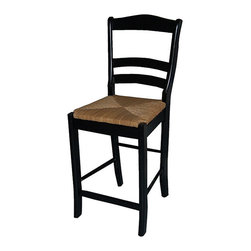 Simple Living - Simple Living Parker Black 24-inch Stool - Add a decidedly traditional element to your home bar,dining area,or man cave with this 24-inch bar stool. This bar stool features a slat-back design and features rubber wood construction with an attractive woven rush seat for added comfort and style.