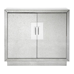 """Andover Cabinet - Our Andover Cabinet has a sophisticate and contemporary design. The antiqued beveled-mirror with chrome hardware gives this chest it's stylish look.  Two doors, two adjustable interior shelves and cord management make it as functional as it is fashionable.  42""""W x 14""""D x 38.5""""H"""