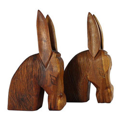 Hand Carved Donkey Bookends Made in Haiti - A Pair - Dimensions 7.0ʺW × 5.0ʺD × 11.0ʺH