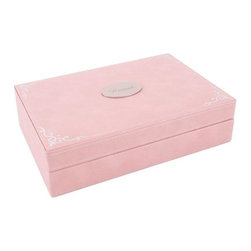 Wolf Designs - Baby Keepsake box - Pink - Our Baby Keepsake box is a place for expectant and new mothers to store their most precious mementos. This baby keepsake box's classic design features a pink pebbled faux leather exterior accented with silver stamped foil ornamentation and an interior with stamped foil captioning for each compartment. The box includes compartments for your baby's first teeth, first lock of hair, baby jewelry, photos, precious documents (such as a birth certificate) and sentimental reminders.